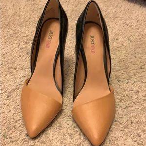 Tan & black heels